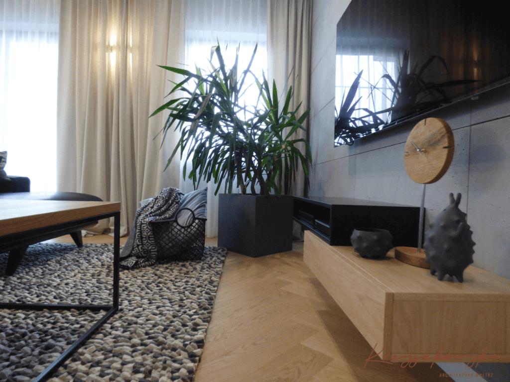 nowoczesny salon z elementami loft